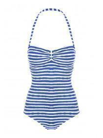 Womens Blue Striped Bandeau Swimsuit
