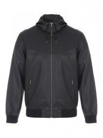 Mens Black PU Hooded Jacket