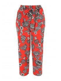 Womens Red Cropped Tapered Trousers