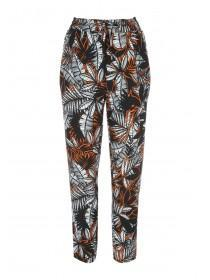 Womens Orange Crepe Tapered Trousers