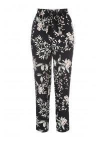 Womens Black Tapered Satin Trousers