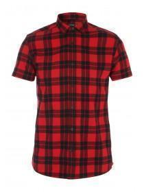 Mens Short Sleeve Flannel Check Shirt