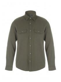 Mens Khaki Textured Bedford Shirt