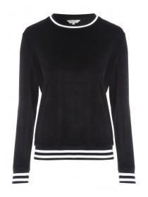 Womens Black Velour Crew Sweater