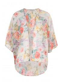 Womens Cream Lace Panel Kimono
