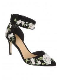 Womens Black Two Part Embroidered Slim Heel