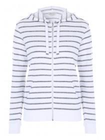 Womens White Striped Zip-Through Hoody