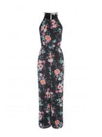 Womens Black Floral Halter Neck Chiffon Jumpsuit