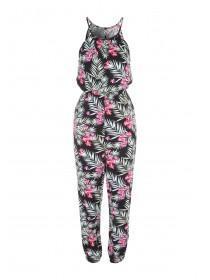 Womens Black Hibiscus Halter Neck Jumpsuit