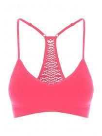 Womens Hot Pink Crochet Racer Back Padded Crop Top