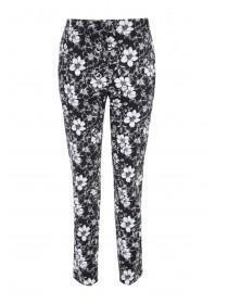 Womens Black Floral Cotton Sateen Trousers