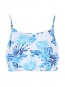 Womens White Floral Hi-Neck Sports Crop Top
