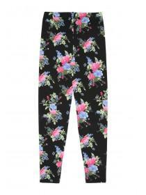 Older Girls Black Floral Printed Leggings