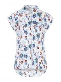 Womens Cream Floral Print Blouse