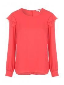 Womens Pink Ruffle Shoulder Top