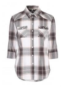 Womens Pale Pink 3/4 Sleeve Check Shirt