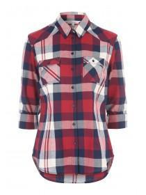 Womens Red 3/4 Sleeve Check Shirt