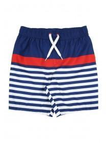 Younger Boys Blue Striped Colour Block Swim Shorts