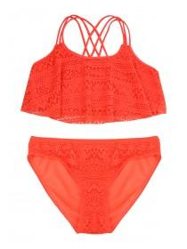 Older Girls Coral 2PC Lace Buble Bikini
