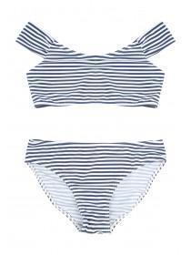 Older Girls White Striped Bardot Bikini