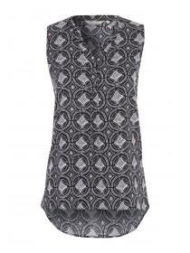 Womens Black Tile Sleeveless Printed Blouse