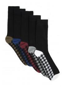 Mens 5PK Checkered Design Socks