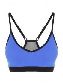 Womens Blue Mesh Back Crop Top