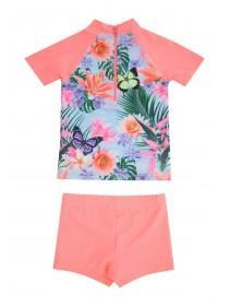 Younger Girls 2Pc Pink Tropical Sunsafe