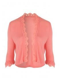 Womens Peach Crochet Cropped Cardigan