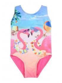 Younger Girls Blue Flamingo Sublimation Swimsuit