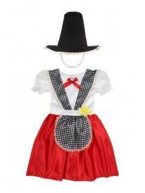 Younger Girls Red Welsh Lady Dress-Up Outfit