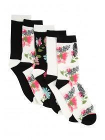 Womens 5pk Floral Socks