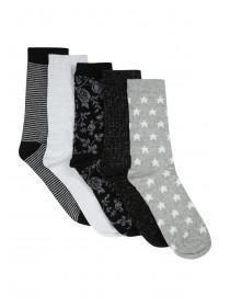 Womens 5Pk Design Socks