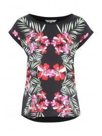 Womens Black Leaf Woven Front Print T-Shirt
