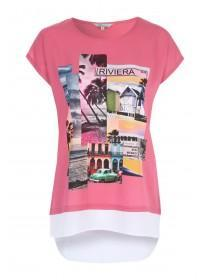 Womens Pink Woven Printed T-Shirt