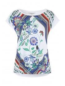 Womens Blue Floral Woven Printed T-Shirt