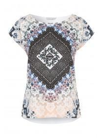 Womens White Woven Print T-Shirt