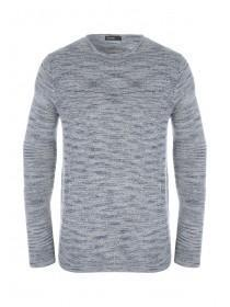 Mens Grey Space Dye Long Sleeve Knitted Jumper