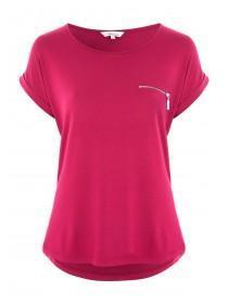 Womens Pink Zip Front T-Shirt