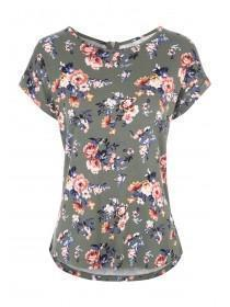 Womens Khaki All-Over Print Zip Back T-Shirt