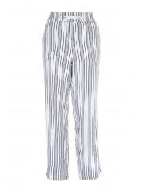 Womens White Printed Linen Trousers