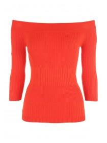 Jane Norman Red Bardot Rib Jumper