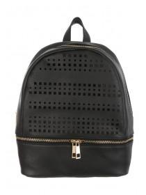 Womens Black Perforated Rucksack