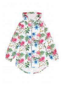 Older Girls White Mesh Lined Floral Cagoule