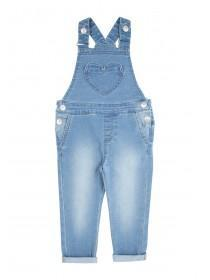 Younger Girls Blue Full Length Dungarees