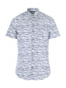 Mens White Ink Print Short Sleeve Shirt