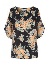 Womens Split Sleeve Floral Top