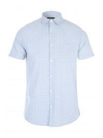Mens Blue Tile Print Oxford Shirt