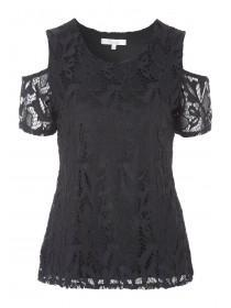 Womens Black Lace Cold Shoulder Top