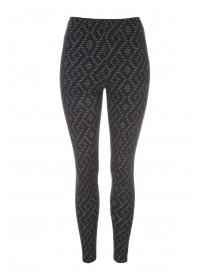 Womens Black Diamond Jacquard Leggings